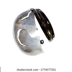 Broken helmet after accident on a white background. Safety and road accidents