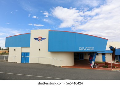 BROKEN HILL, AUSTRALIA - October 21, 2016: Royal Flying Doctor Service Headquarters with the Bruce Langford Visitors Centre at the Broken Hill airport.