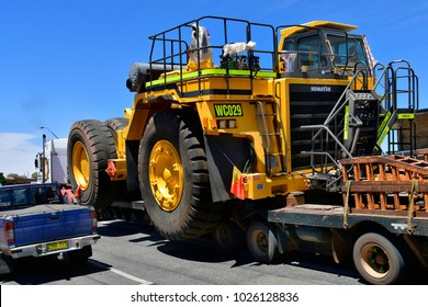 BROKEN HILL, NSW, AUSTRALIA - NOVEMBER 10: Abnormal wide load on trailer, a mining vehicle in the frontier city in Australians outback, on November 10, 2017 in Broken Hill, Australia