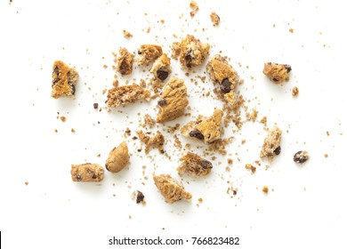 broken homemade cookies on white background
