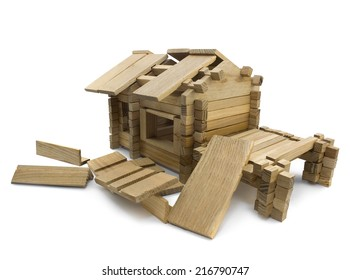 Broken house. Isolated wooden broken toy house view.