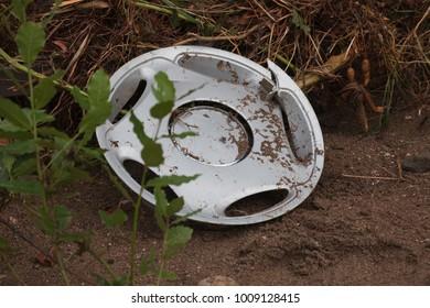 Broken hubcap in mud - Olympos, Turkey