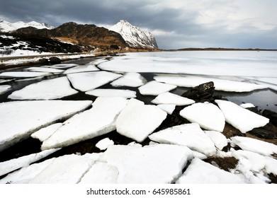 Broken ice flow in the Artic