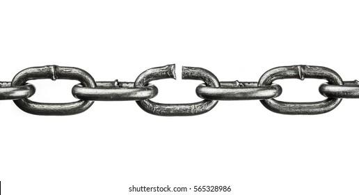 broken iron chain isolated