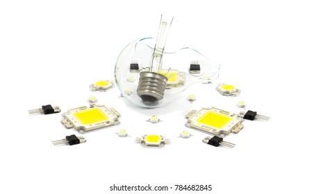 Broken lamp, LEDs, regulators A