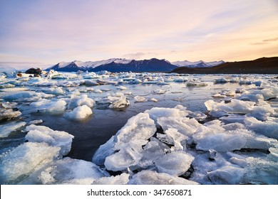 Broken melting pieces of ice at Jokulsarlon glacier Lagoon, stunning icy  scenery landscape in iceland