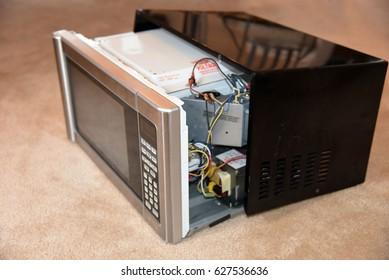 Broken Microwave Open Interior