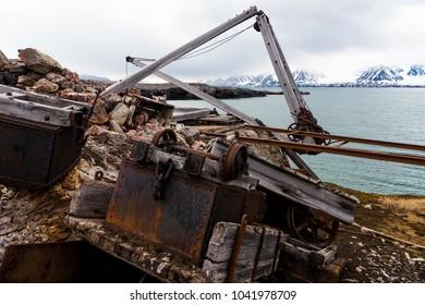 Broken Mining equipment in the New London settlement, Svalbard archipelago