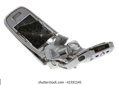 Broken mobile phone isolated on white