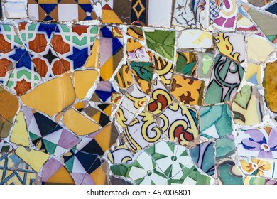 Broken multicolor glass mosaic tile, decoration in Park Guell, Barcelona, Spain.