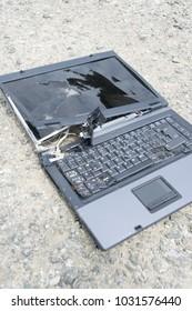A broken old laptop keyboard - notebook crash
