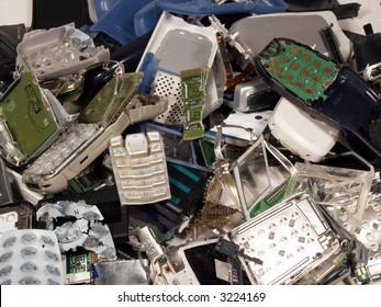Broken old mobile phones