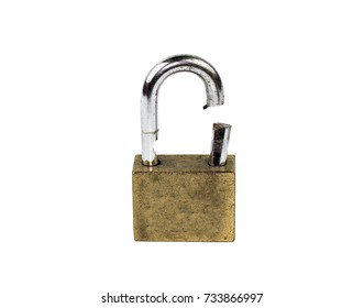 broken padlock security failure  isolated on white background concept bandit and thief