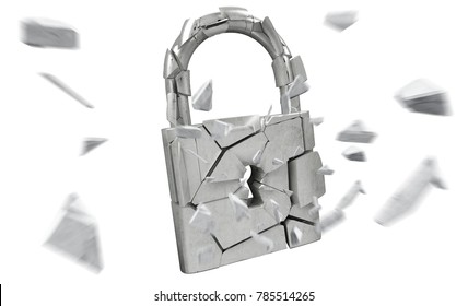 Broken padlock security on white background 3D rendering