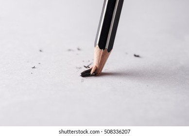 Broken pencil, Mistake or error concept, Business fails and bankruptcy and unsuccessful concept, Shaving pencil