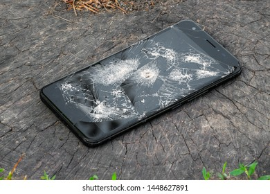 A broken phone with a bullet hole lies on the old stump