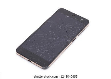 broken phone on the white background