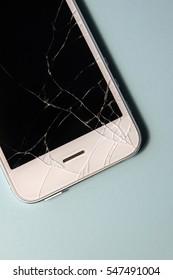 Broken phone screen isolated