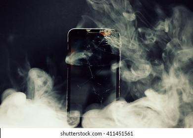 Broken phone and smoke