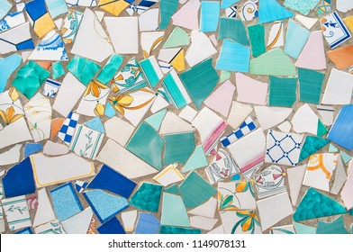broken pieces of beautiful ceramics tiled in mosaic on street wall in ceramic capital of Italy, Vietri Sul Mare, Campania, Italy