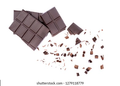 broken pieces of chocolate candy bar isolated white background