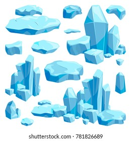 Broken pieces of ice. Game design illustrations in cartoon style. Blue ice frost and cool object