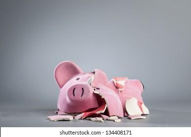 Broken piggy bank.