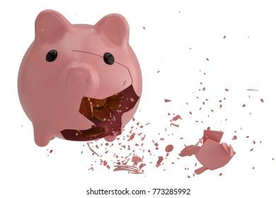 Broken piggy bank with dollar coins. 3D illustration.