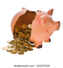 broken piggy bank and money poured isolated on white background