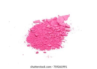 Broken pink blush on white background