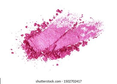 A broken pink eye shadow smear make up palette isolated on a white background. Top view, flat lay. Copy space for your text