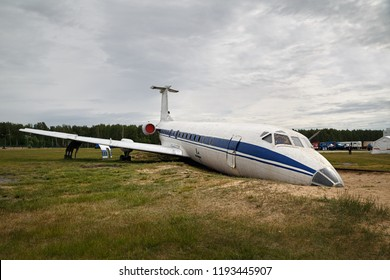 Broken plane for training at the training ground of the Noginsk Rescue Center. Town of Noginsk, Moscow region, Russia