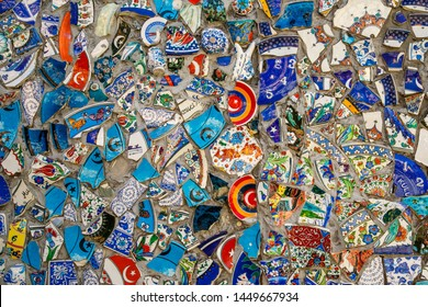 Broken plate colorful debris mosaic background, abstract art design of wall ceramic pattern