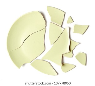 Broken plate on white background