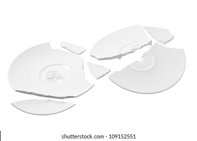 Broken Plates on White Background