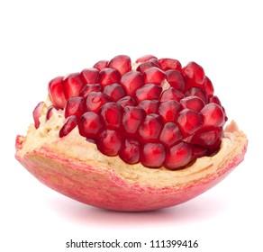Broken pomegranate segment isolated on white background cutout