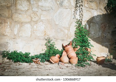 Broken pots of clay