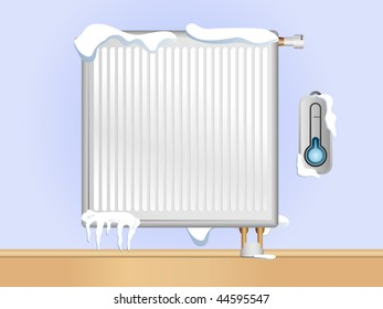 Broken Radiator with snow and ice.