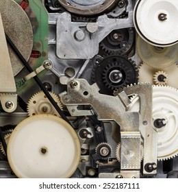 broken retro video cassette recorder inside mechanism