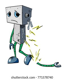 Broken robot cartoon image. Artistic freehand drawing. Authentic cartoon.