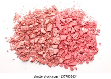 Broken rouge, pouder, eye shadow isolated on white. Trendy coral color. Duotone