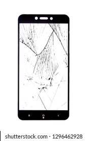 broken safety glass for smartphone on white background