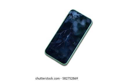 Broken screen glass of mobile smartphone on white isolate background