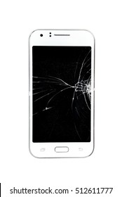 Broken Screen Mobile Phone On White Background