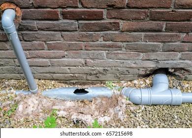 Broken sewage pipe / Plumbing