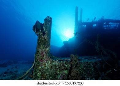 broken ship wreck part fallen of the wreck due to damaging mooring