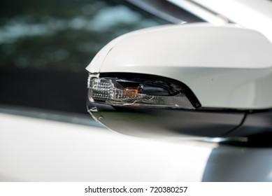 Broken sidelight. car side mirror. accident