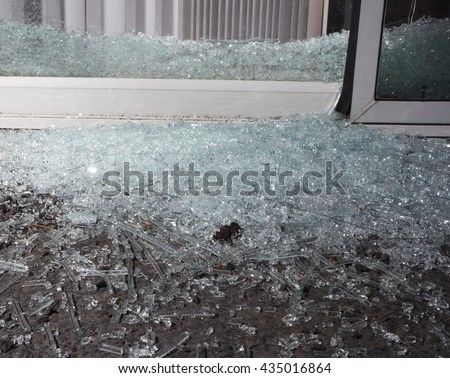 Broken Sliding Glass Door Used Enter Stock Photo Edit Now