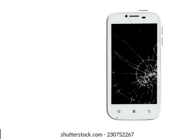 Broken smart phone isolated on white background with clipping path