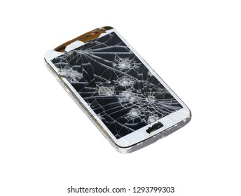 Broken smartphone (with clipping path) isolated on white background
